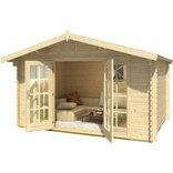 Nils bjælkehytte 10,12 m² m/dobbeltdør og sidevinduer