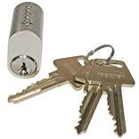 Jasa cylinder 6-stift oval m/3 nøgler messing mat forniklet