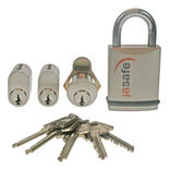 Jasafe låsesæt/sampak 2 cylindere, 1 hængelås, 1 postkasselås