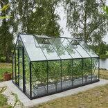 Halls Universal 128 antracit 9,9 m² drivhus 3 mm delt glas m/sokkel ¤