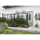 Elmholm Exclusive vægdrivhus 13,1 m2 Antracit m/poly. og 4 mm hærdet glas
