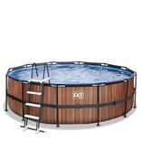Exit frame pool trælook med filter og stige Ø450 x 122 cm