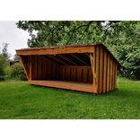 Shelter i lærketræ m/lukkefront og bænk 6 personer ¤
