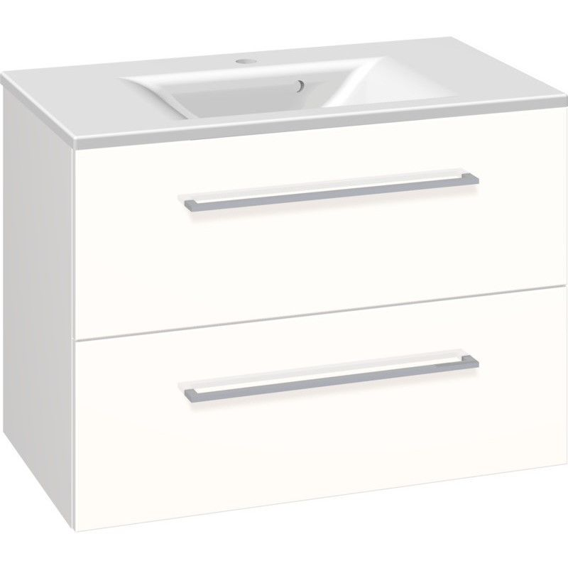 Scanbad Multo+ Vaskeskab Hvid Højglans Med Mikado Vask 80 Cm