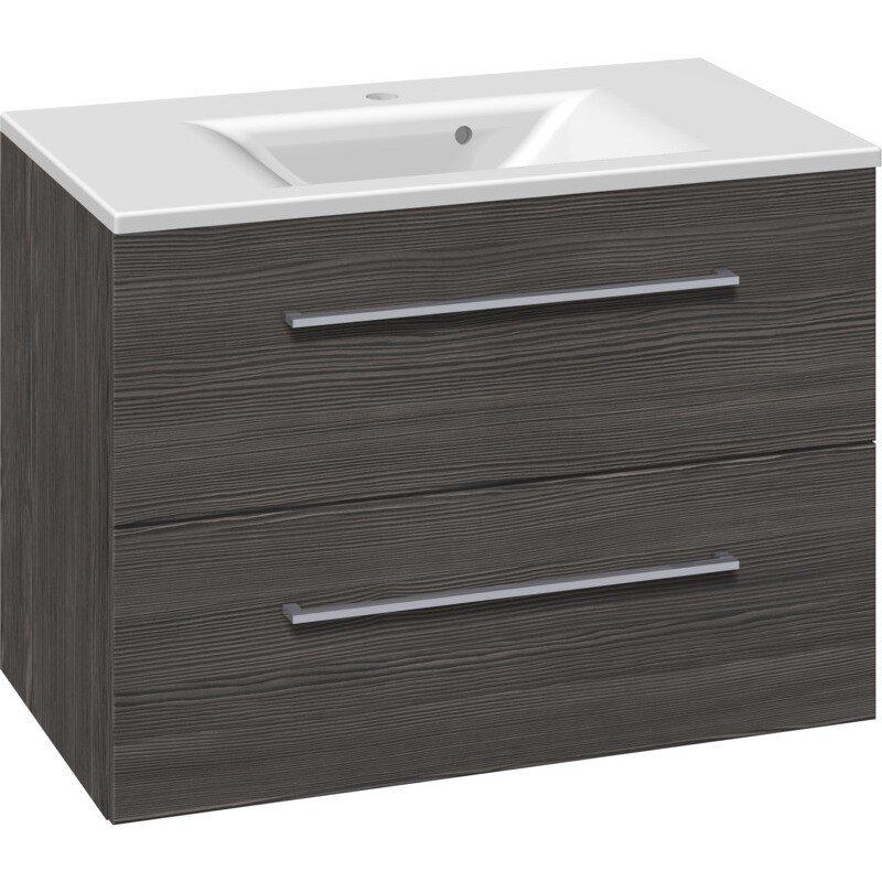 Scanbad Multo+ Vaskeskab Pine Grey Med Mikado Vask 80 Cm