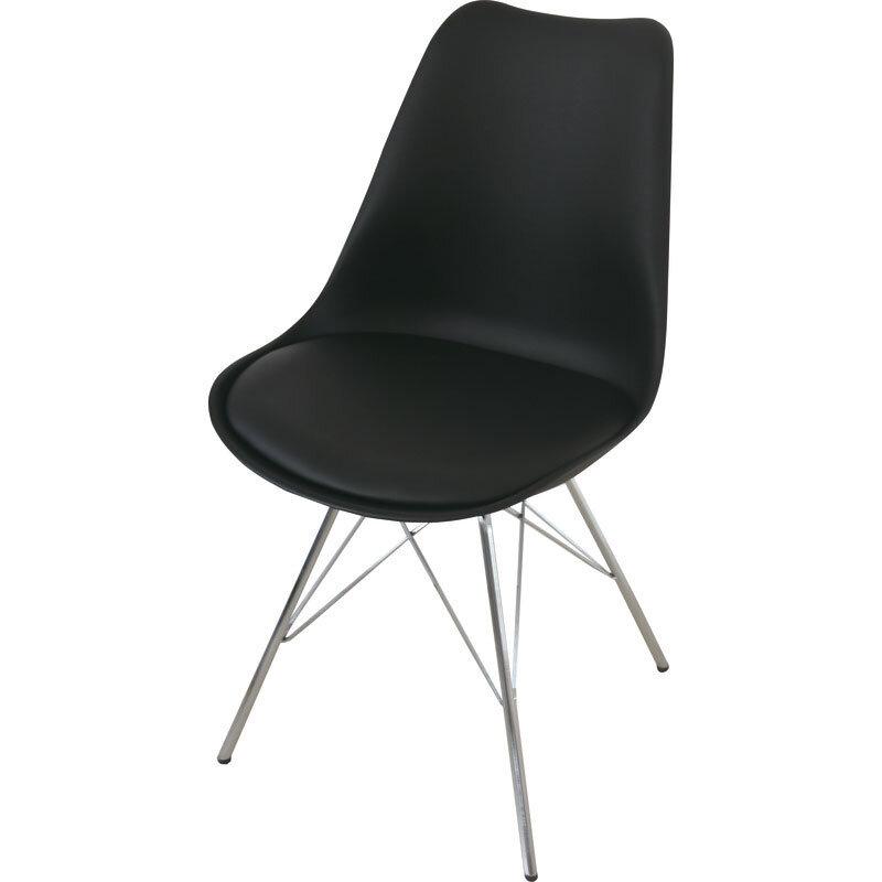 Venedig Spisebordsstol, Sort Med Krom Stel