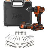Black&Decker akku bore- og skruemaskine 18V 2x1.5 Ah, batteri inkl. 80 dele