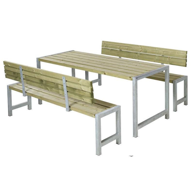 Plus Plankesæt med bord 186cm + 2 bænke m/ryglæn 176cm