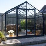 Elmholm Exclusive drivhus 13 m² - Antracit med 4 mm hærdet glas