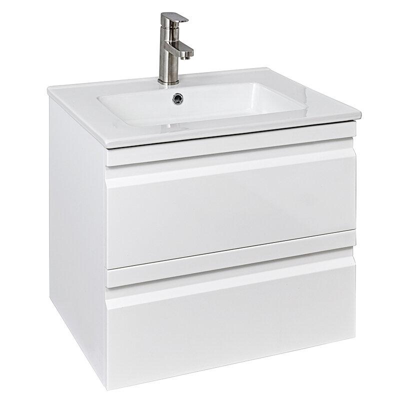 Billede af Badmøbel hvid højglans m/2 skuffer inkl. hvid porcelænsvask 61 x 46 x 52 cm