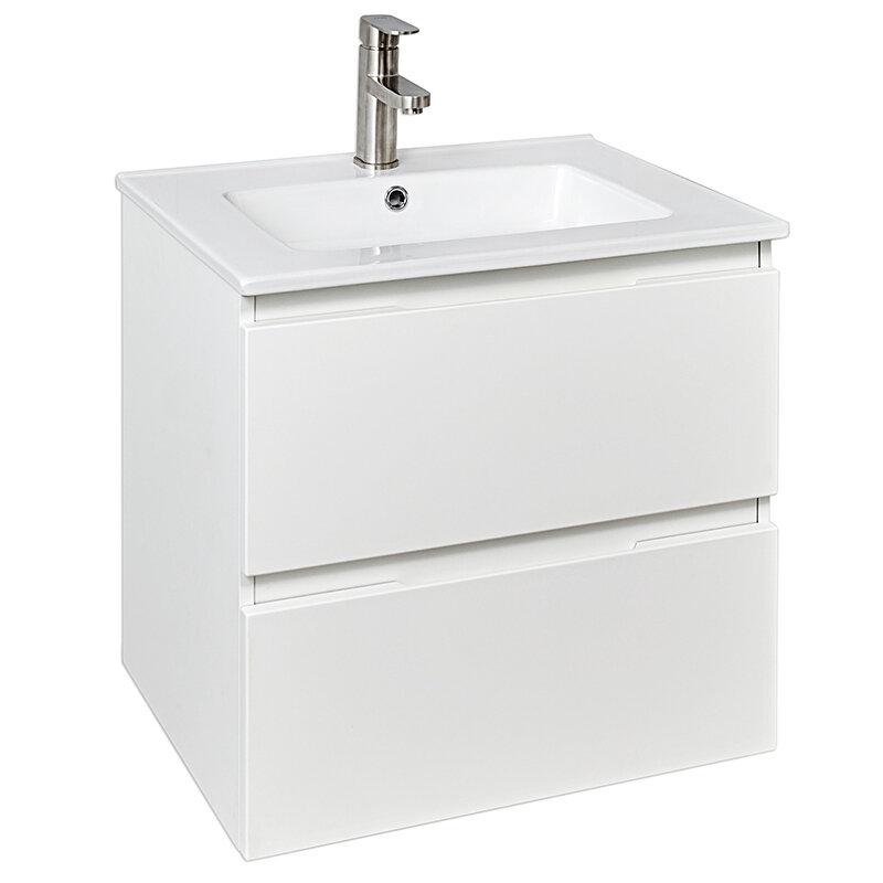 Billede af Badmøbel mat hvid m/2 skuffer inkl. hvid porcelænsvask 61 x 46 x 52 cm