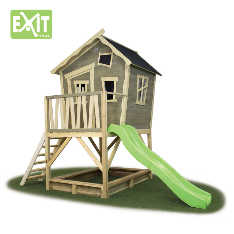 Exit Crooky 500 legehus m/sandkasse og rutsjebane - 180x328x259 cm