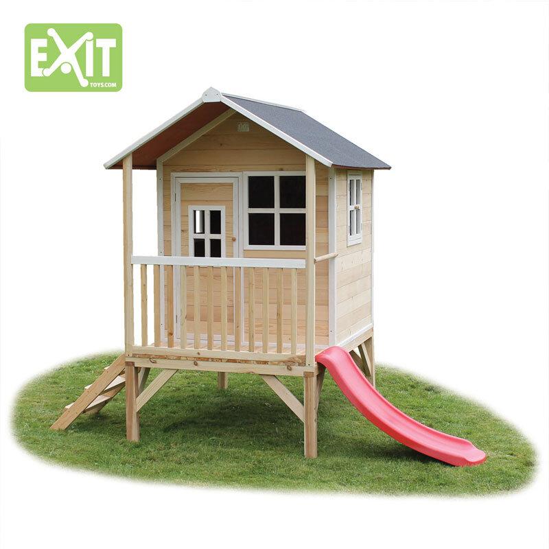 Exit Loft 300 naturfarvet legehus - 260x185x225 cm
