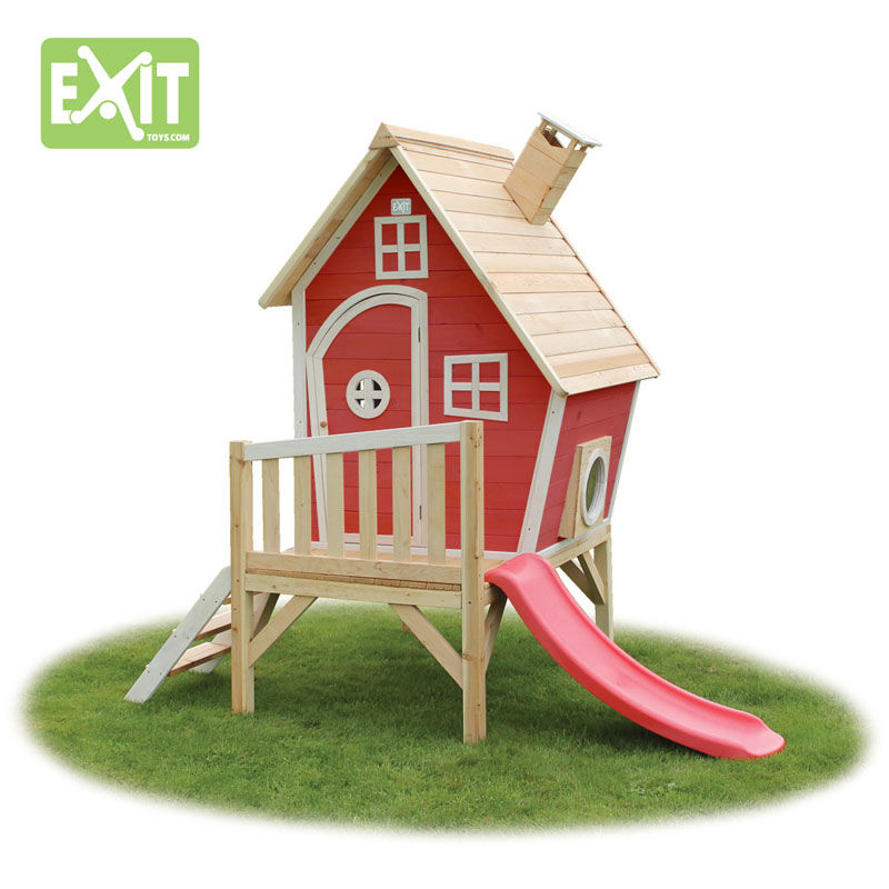 Exit Fantasia 300 rødt legehus m/veranda og rutsjebane - 163x226x240 cm