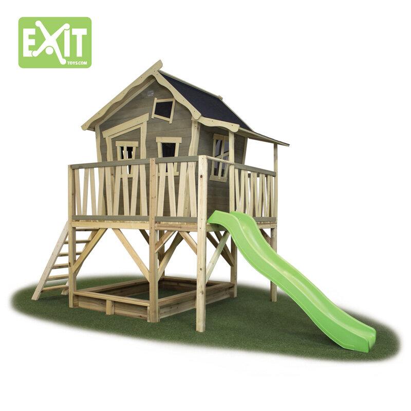 Exit Crooky 550 legehus m/sandkasse og rutsjebane - 180x381x259 cm