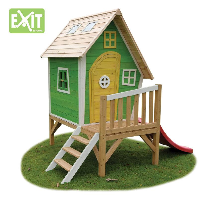 Exit Fantasia 300 grønt legehus m/veranda og rutsjebane - 163x226x240 cm