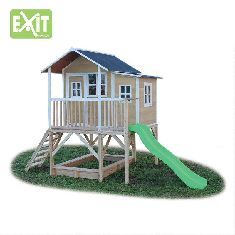 Exit Loft 550 naturfarvet legehus - 348x220x255 cm