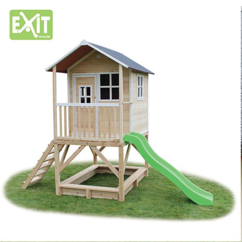 Exit Loft 500 naturfarvet legehus - 328x185x255 cm