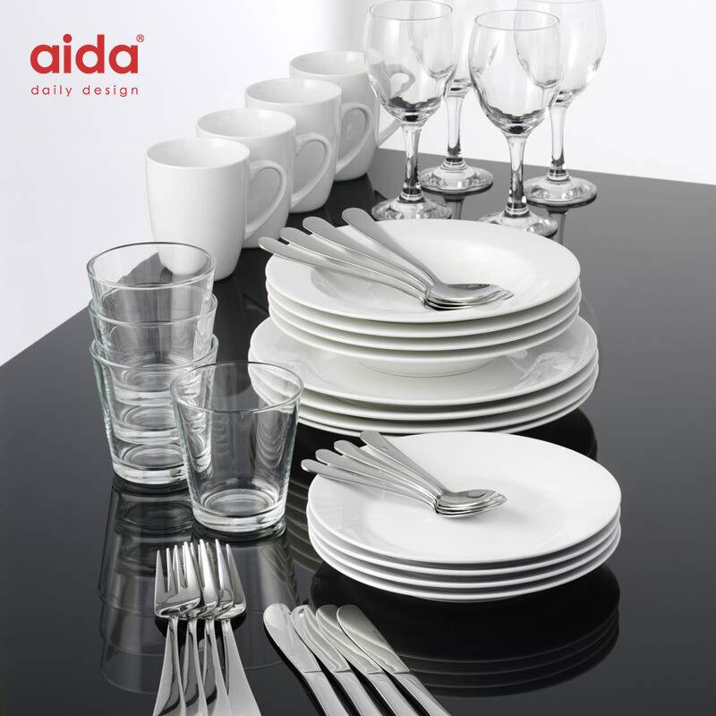 """Aida Startsæt """"flyt Hjemmefra"""" - Stel Til 4 Personer"""