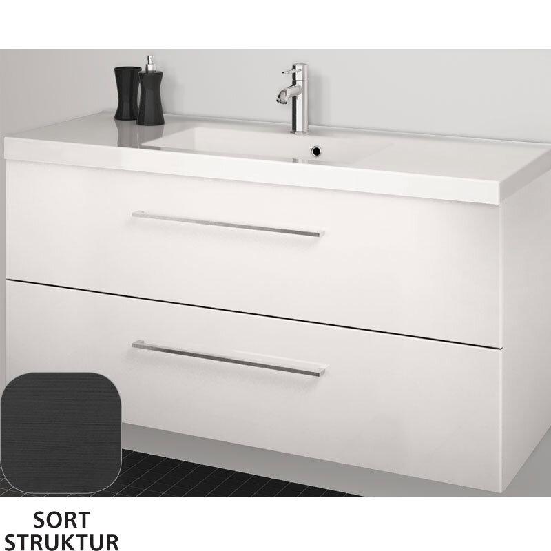 Scanbad Multo+ Vaskeskab Sort Struktur Med Aura Vask 120 Cm.