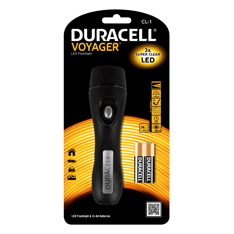 Duracell Led Lommelygte Cl-1 Voyager - Inkl. 2xaa Batterier