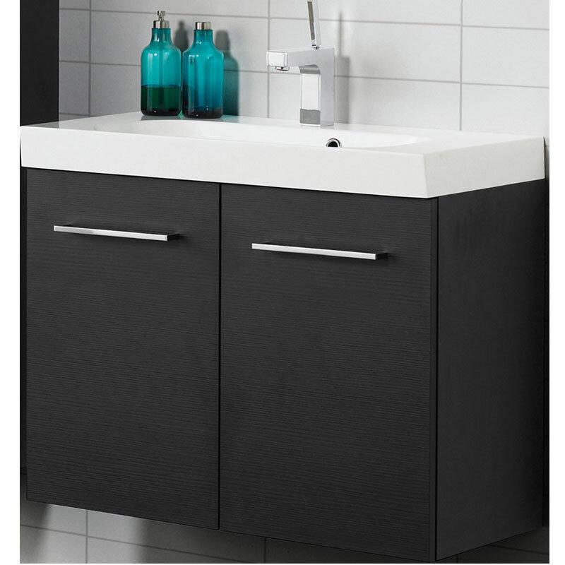 Scanbad Multo+ Vaskeskab Sort Struktur M/hvid Uno Vask 80 Cm.