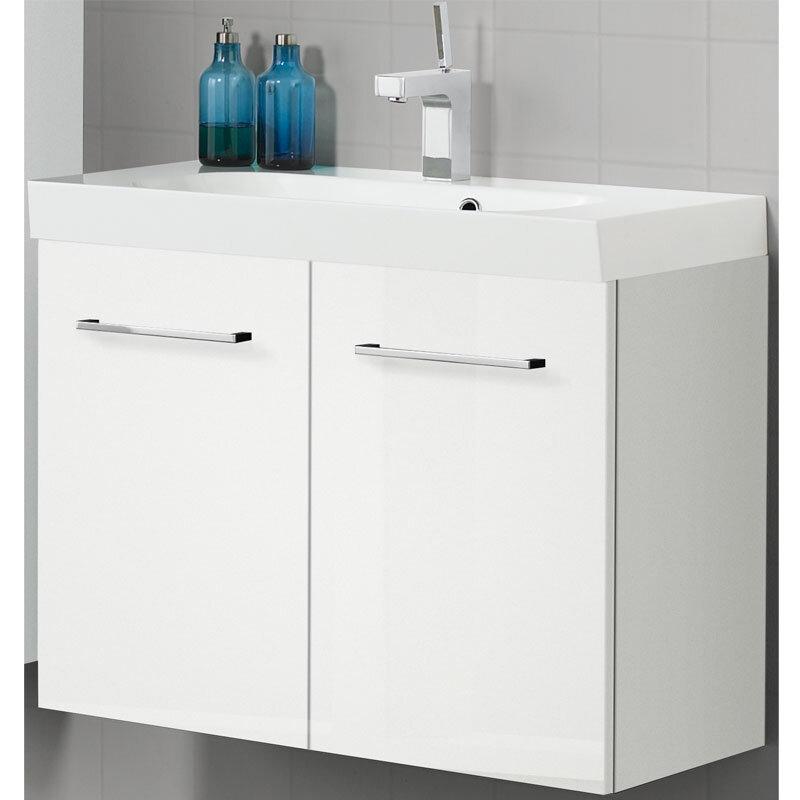 Scanbad Multo+ Vaskeskab Hvid Højglans M/hvid Uno Vask 80 Cm