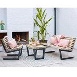 Plus Siesta Loungesæt m/lille bord drivtømmerfarve ¤