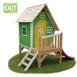 Exit Fantasia 300 grønt legehus m/veranda og rutsjebane - 163x226x240 cm ¤