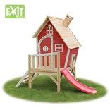 Exit Fantasia 300 rødt legehus m/veranda og rutsjebane - 163x226x240 cm ¤