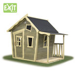 Exit Crooky 150 legehus m/terrasse brun/blå - 145x216,5x169 cm ¤