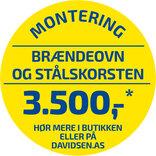Standard montering af brændeovn og stålskorsten OBS: der afregnes direkte med montøren ¤ Vær OBS på betingelser for montering.