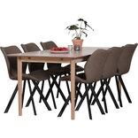 Ava spisebord med 6 brune Mille stole