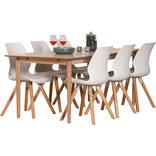 Ava spisebord med 6 hvide Mira stole