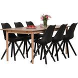 Ava spisebord med 6 sorte Dima stole