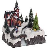 Kirke, hus eller juletræsbod m/ LED-lys