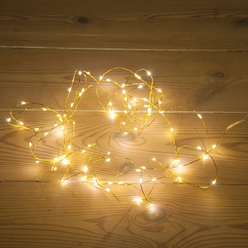 Indendørs batteri lyskæde guldwire 80 mikro LED-lys varm hvid