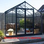 Elmholm Exclusive drivhus 9,01 m². Antracit med 4 mm hærdet glas