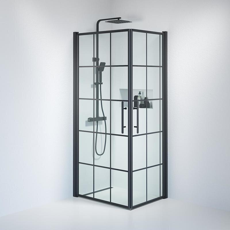 Billede af Fjäll brusedør 70x90 cm klar glas m/sprosser sort