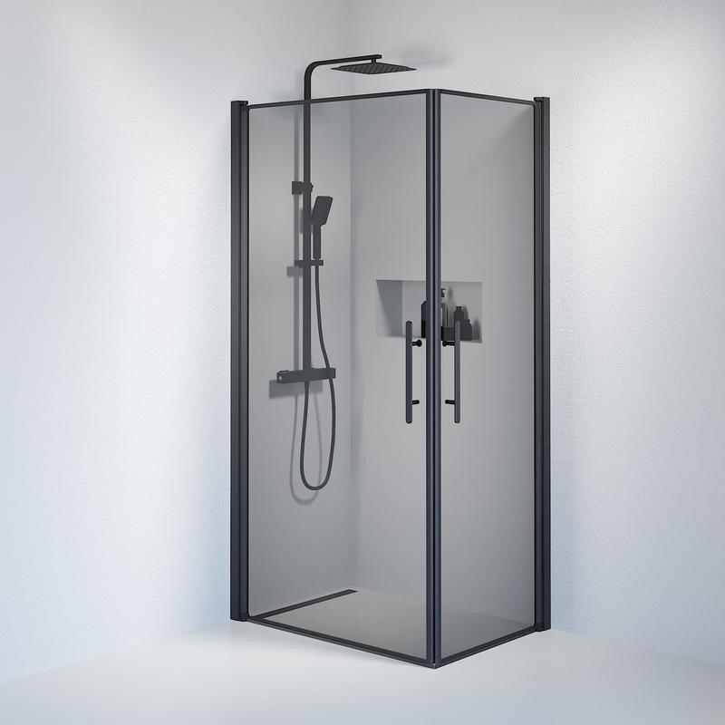 Billede af Fjäll brusedør 70x100 cm røgfarvet glas sort