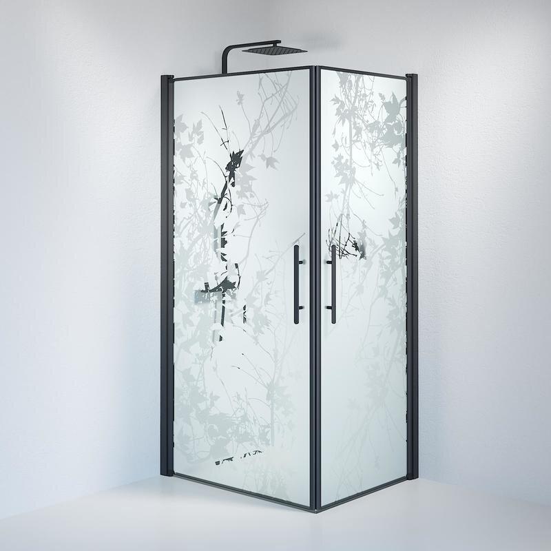 Billede af Fjäll brusedør 80x100 cm deco glas sort
