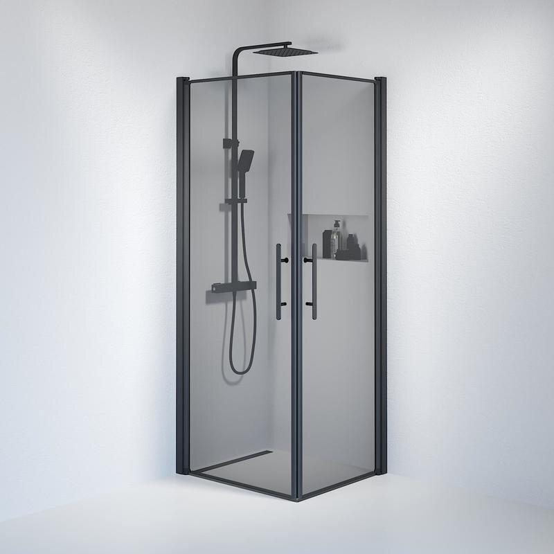 Billede af Fjäll brusedør 70x80 cm røgfarvet glas sort