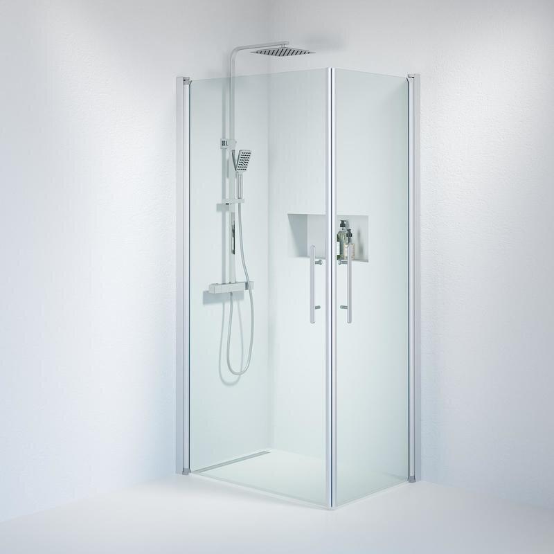 Billede af Fjäll brusedør 70x100 cm klar glas satin