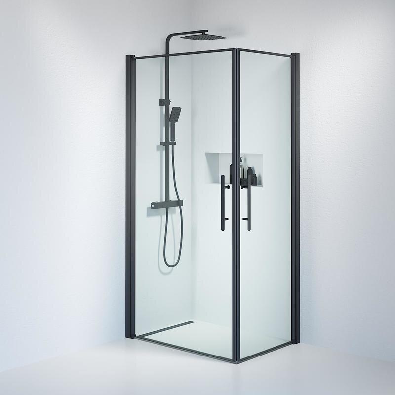 Billede af Fjäll brusedør 70x100 cm klar glas sort