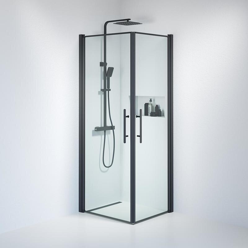 Billede af Fjäll brusedør 70x80 cm klar glas sort
