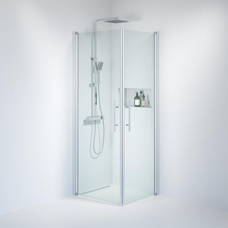 Billede af Fjäll brusedør 70x80 cm klar glas satin