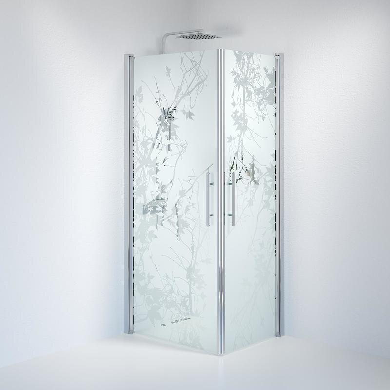 Billede af Fjäll brusedør 70x90 cm deco glas krom