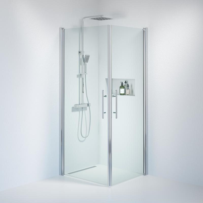 Billede af Fjäll brusedør 70x80 cm klar glas krom