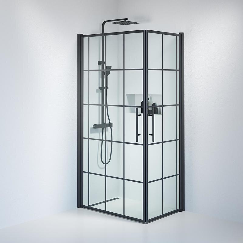 Billede af Fjäll brusedør 70x100 cm klar glas m/sprosser sort