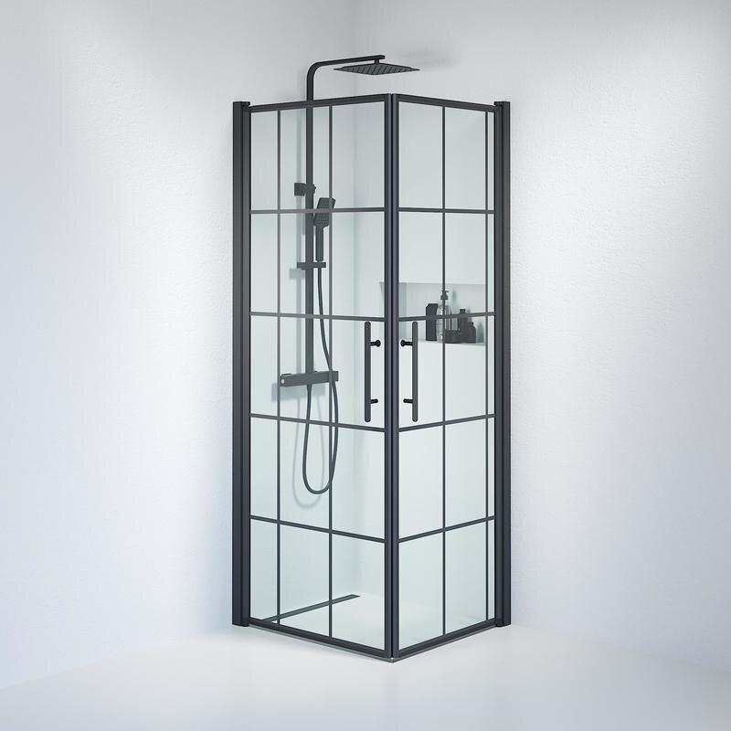 Billede af Fjäll brusedør 70x80 cm klar glas m/sprosser sort